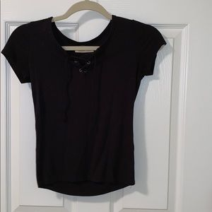 Hollister Black Ribbed Lace-up Crop Top
